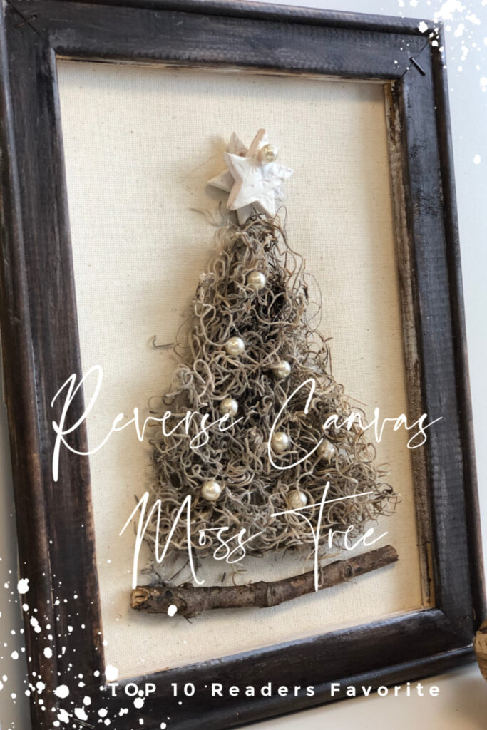Natural whimsical  Spanish moss Christimas tree with pearl beads and clay handmade star. Reverse Canvas stained frame. Handmade ornaments  Etsy store