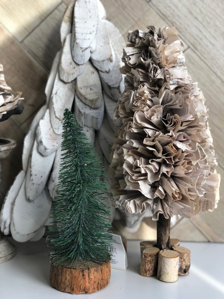 Let's make Vintage paper Christmas like tree together. Book pages paper tree craft . Christmas tree craft Book pages diy
