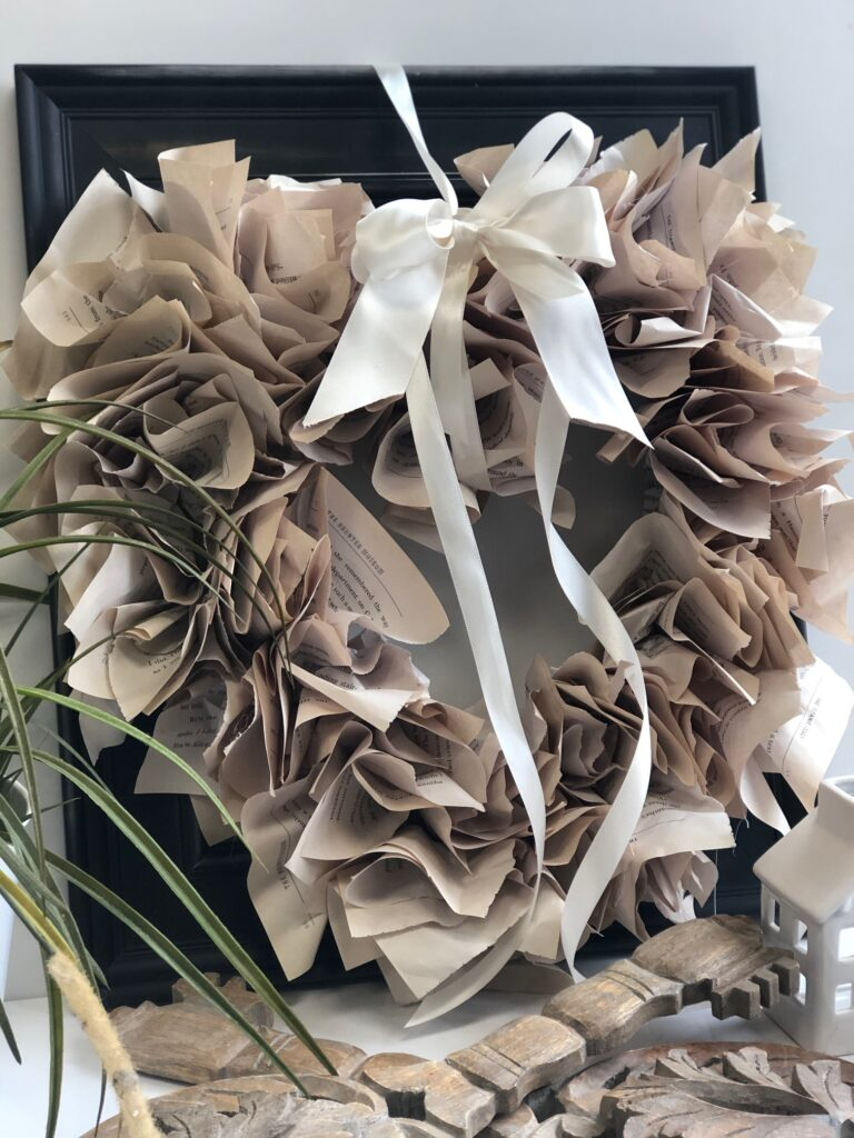 Romantic Book Pages Wreath diy