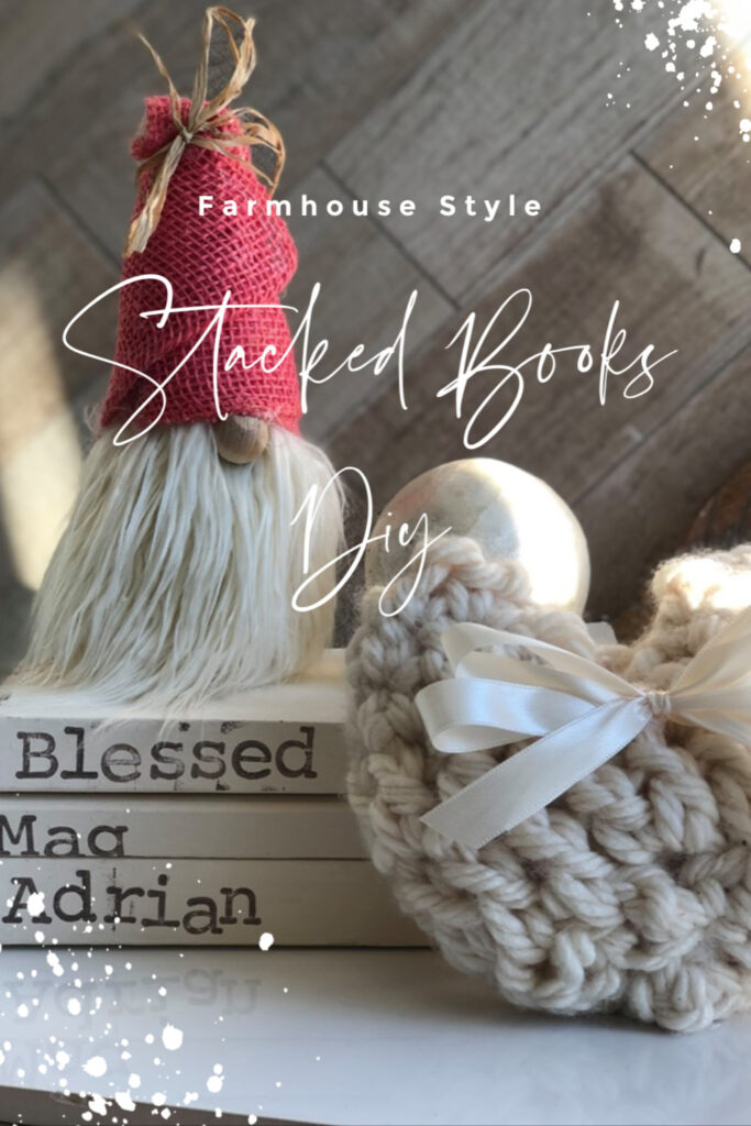 Painted stamped Stack books set are also perfect with chunky yarn  Valentines Day decor. All year round Farmhouse style home decor. Easy to follow instructions