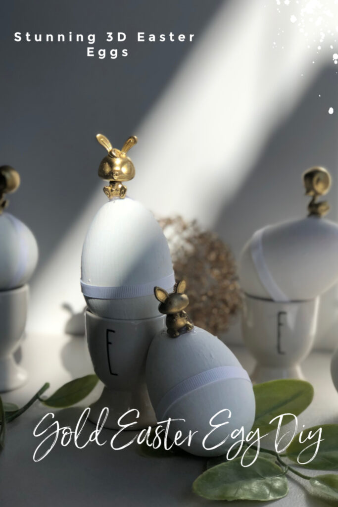 Sweet but stunning 3D gold figurines Easter Egg decorating idea to elevate any decor. . Budget friendly Easter diy  you need to try this holiday season.
