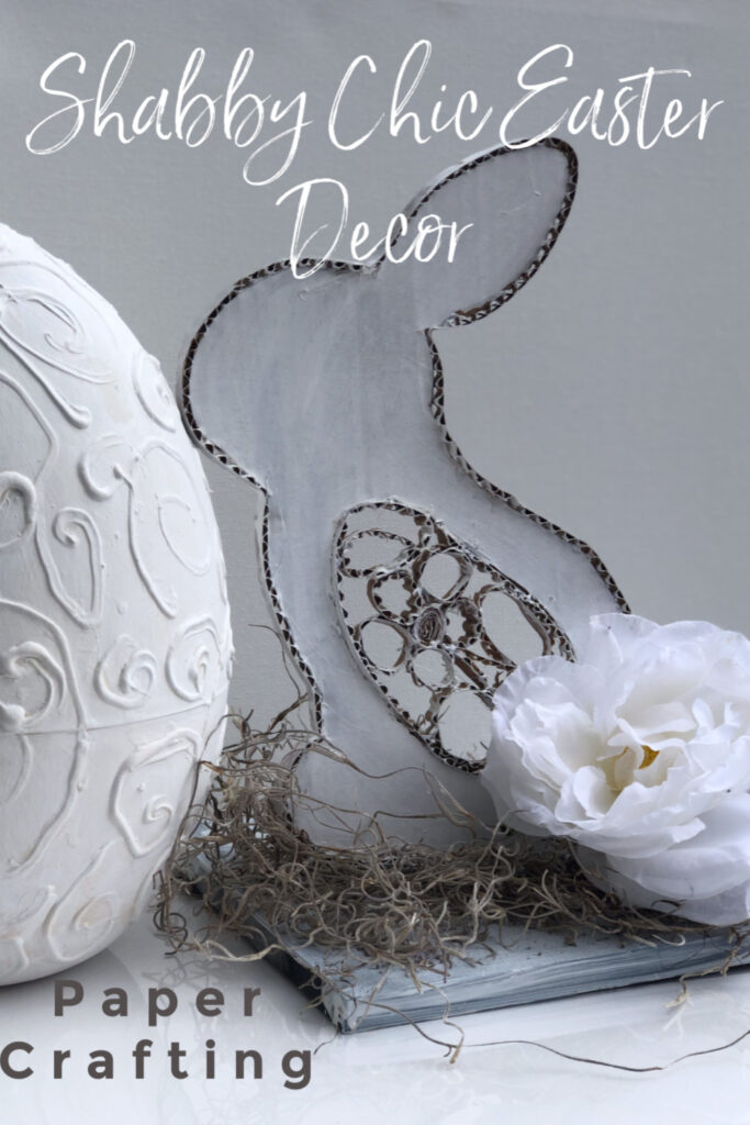 Looking for Elegant way but on the budget to decorate this Easter? Let me show you how to make this Shabby Chic cardboard bunny!