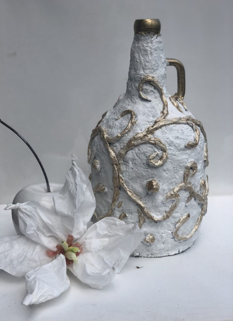 Let's have fun with egg carton craft. Paper Mache DIY. Turn your bottle into masterpiece. Budget friendly home decor idea.Paper Mashe craft  bottle makeover