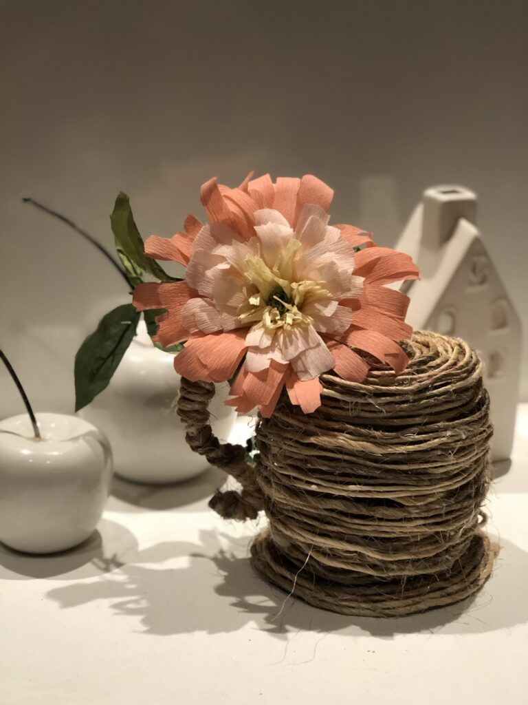 Learn how to make this rustic tea cup out cardboard and rope wrapped. Shabby chic home decor idea . Beautiful crepe paper flower