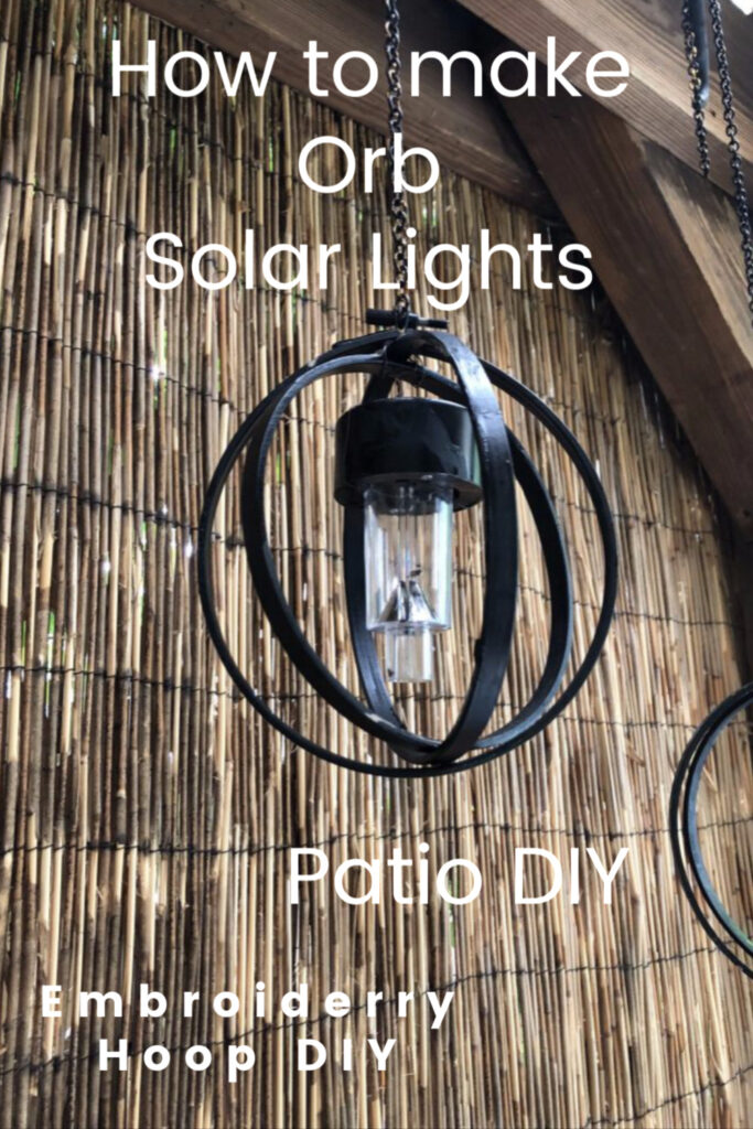 Learn how to make easy solar orb light out of embroidery hoops! Hip and budget friendly Patio light diy to enjoy year round.
