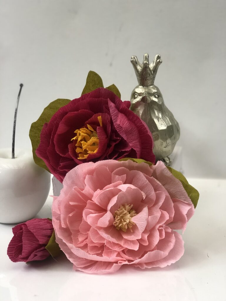 Learn how to make stunning peonies easy way. Detailed tutorial with video on how to make crepe paper peonies flowers