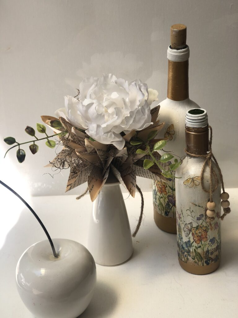 Decoupage is super fun paper craft. Have you tried yet? Let's turn our glass bottle into Shabby Chic home decor accent. Learn how to decoupage on glass