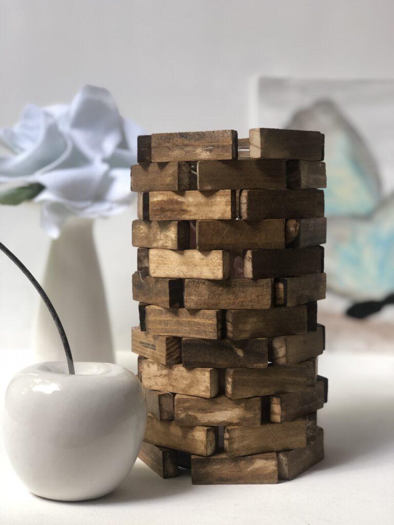 Learn how to make a Jenga blocks lamp diy. Dollar Tree craft idea. Budget friendly home decor diy. Modern Farmhouse lamp diy