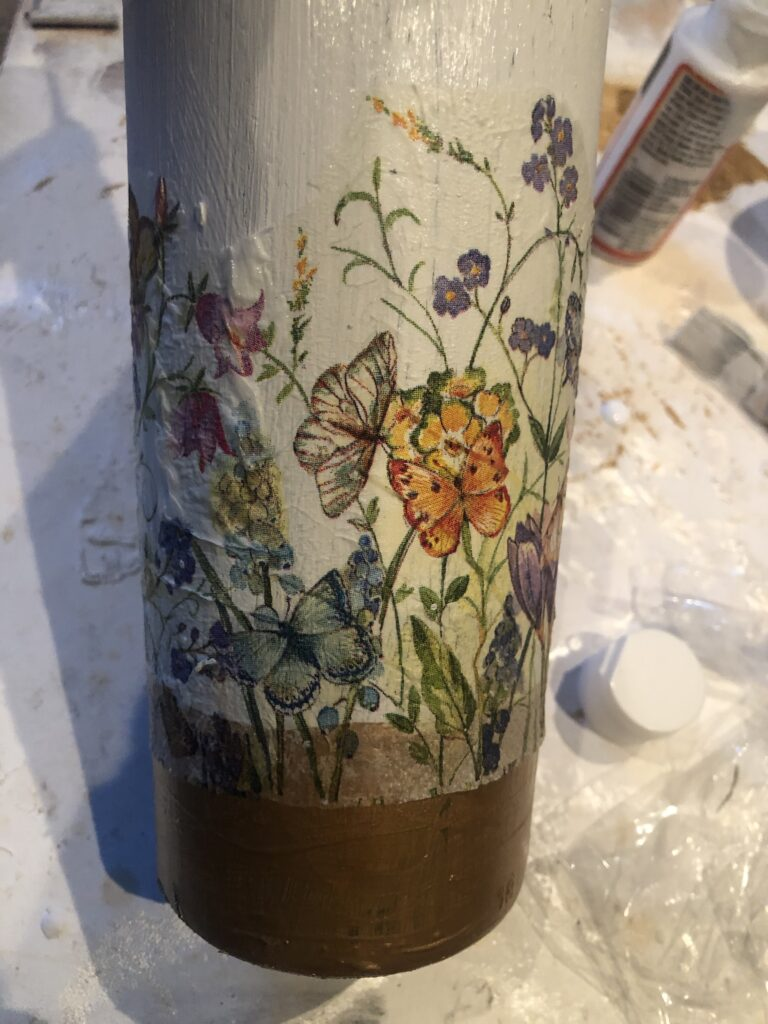 Decoupage is super fun paper craft. Have you tried yet? Let's turn our glass bottle into Shabby Chic home decor accent  Learn how to decoupage on glass