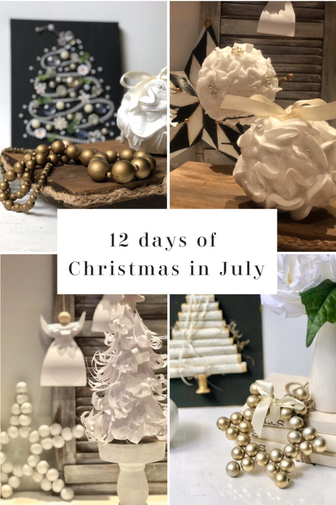 Let's recap our Christmas in July crafts! Full tutorial to all. Christmas ornaments, Paper trees , wooden beads Christmas home decor