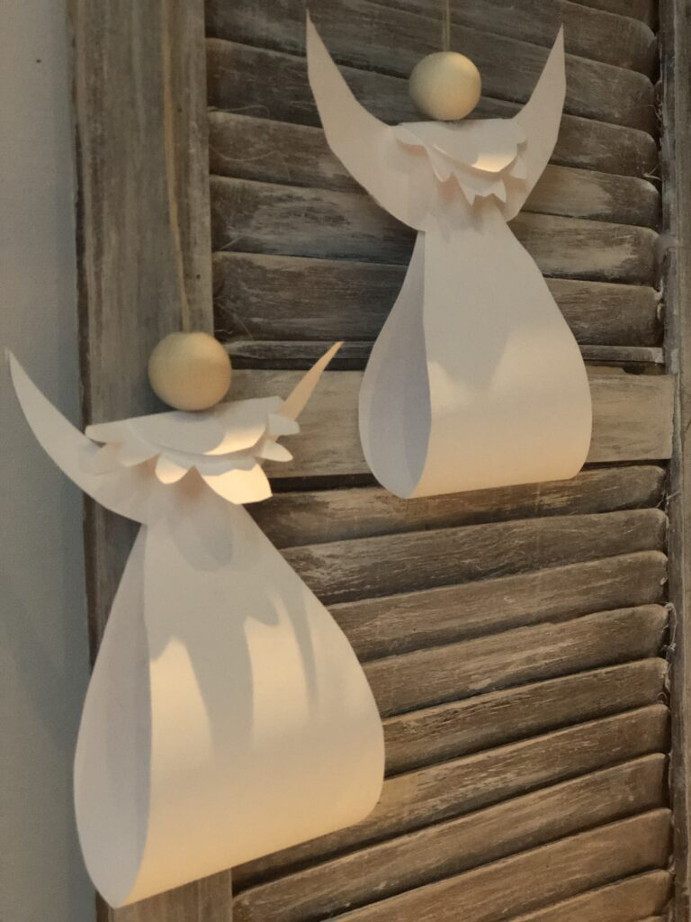 Make Christmas ornaments out of paper. White paper Angel Christmas ornament with wooden bead diy.. PDF file included