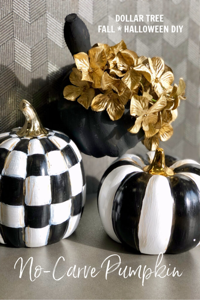 No carve Halloween pumpkin. This one is going to be a the perfect mix of sweet & spooky fall decor. Dollar Tree elegant black pumpkin. FALL HALLOWEEN DOLLAR TREE DIY
