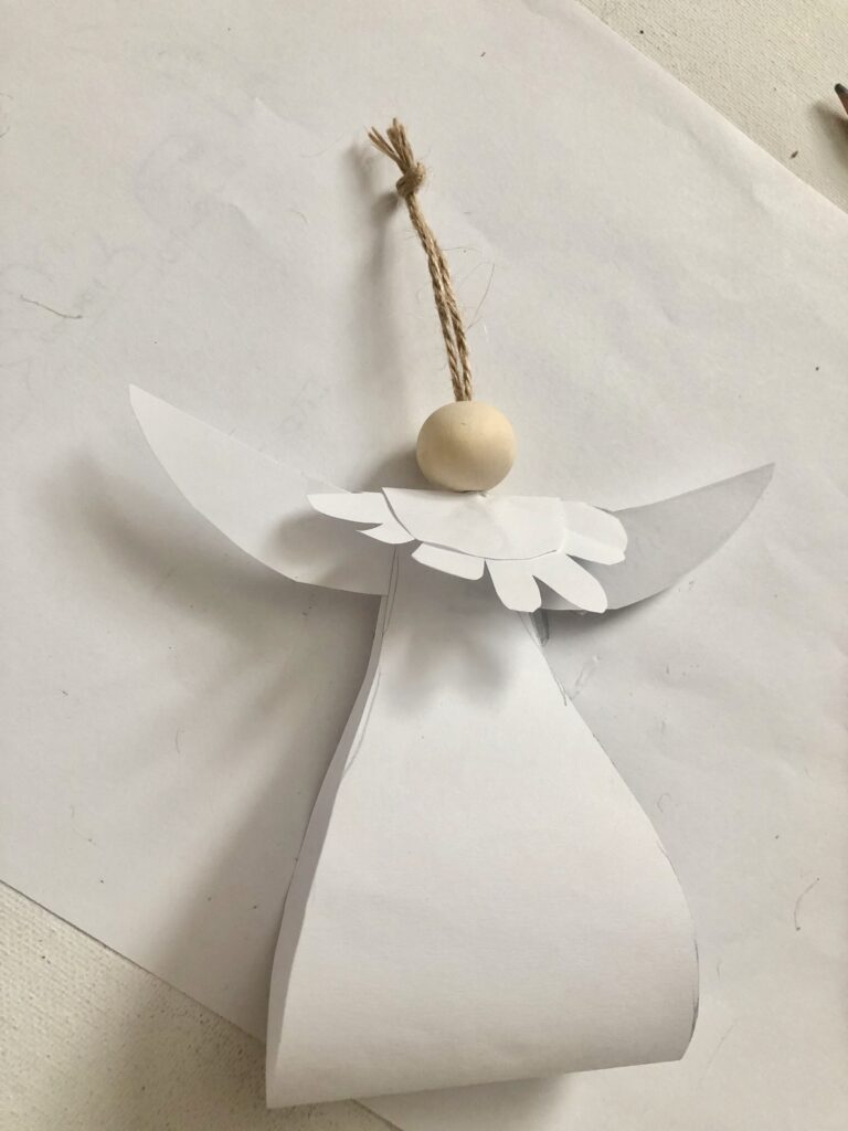 Learn how to make stunning Christmas ornaments out of paper. White paper Angel Christmas ornament with wooden bead diy.. PDF file inc