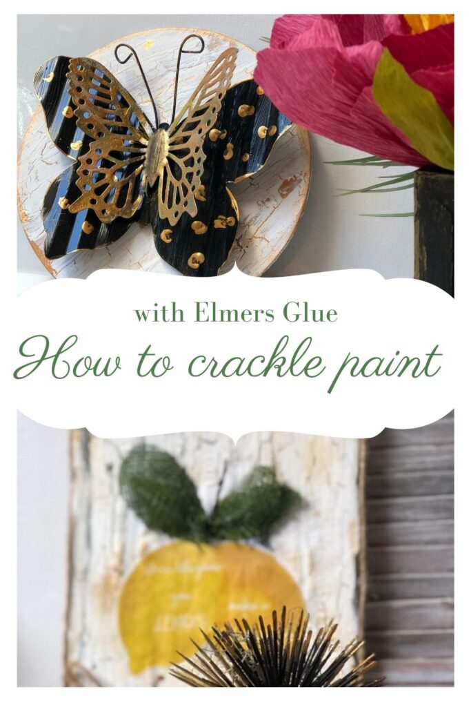 Learn how you can use Elmers glue to crackle paint on the wood? This Dollar Tree butterfly diy is a must project o make