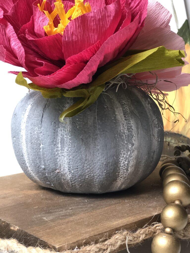 Let's make a faux cement succulent pumpkin planter. Dollar Tree fall home decor idea. Painted pumpkin. Planter diy.Thanksgiving succulent centerpiece