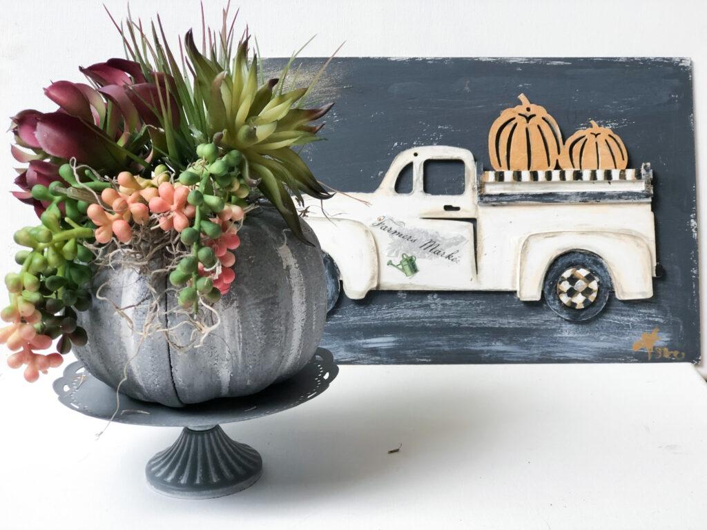 Faux cement succulent pumpkin planter. Thanksgiving succulent centerpiece. Dollar Tree pumpkin DIY . PUMPKIN Planter.Thanksgiving succulent centerpiece