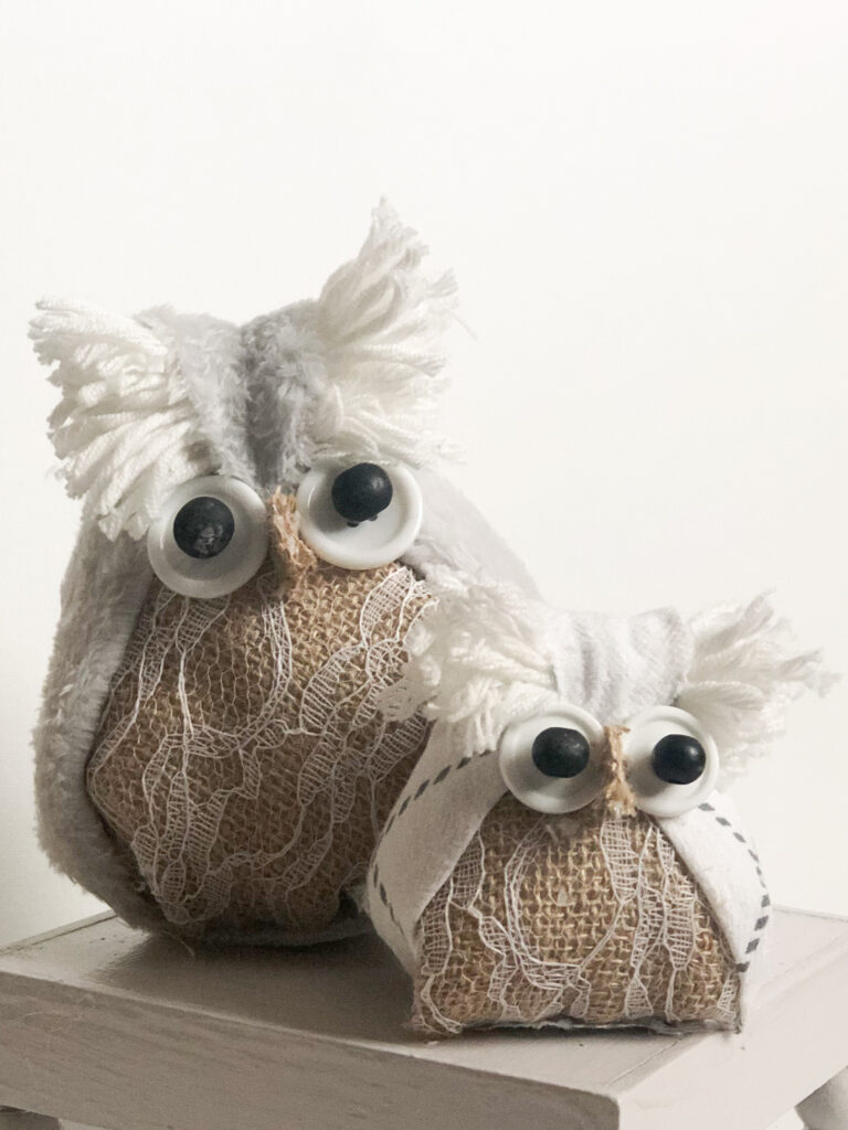 Let's make together super cute Fabric Owl. Fall project diy with kids. Puppet owl diy. Dollar Tree owl. Fabric craft idea