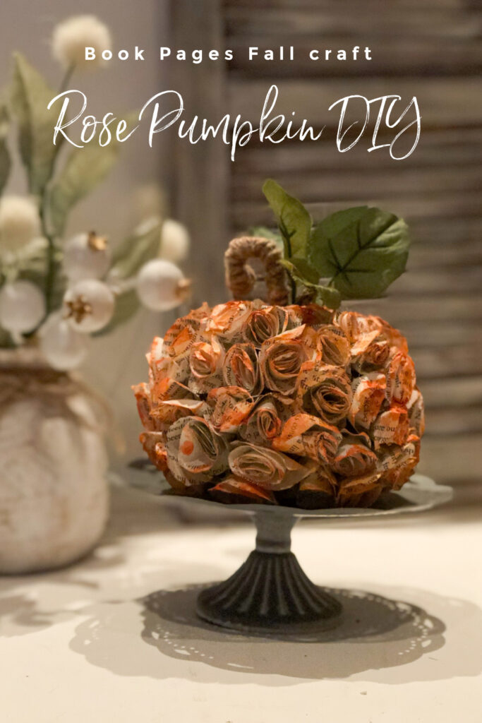 Let's make a beautiful fall pumpkin covered with book pages roses. Book pages fall diy. Book pages ROSE pumpkin