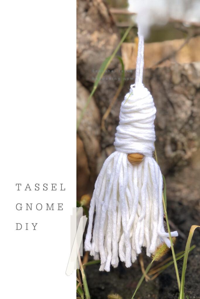 Learn how to make mini Gnome ornament. Easy Christmas ornament DIY. Tassel yarn Christmas gnome. Enchanted garden