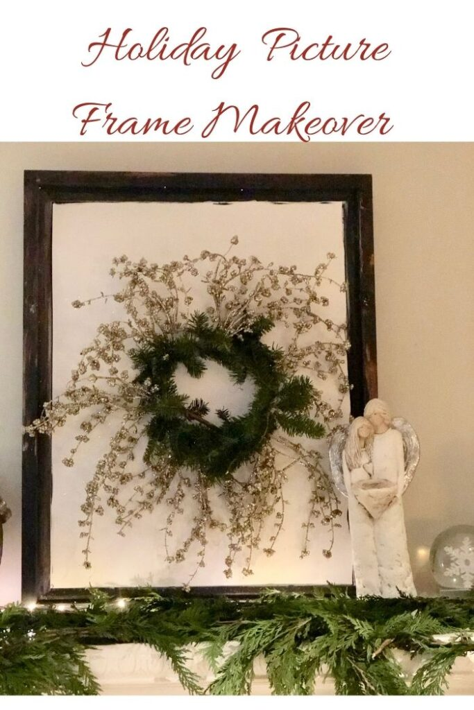 Let's do quick holiday wall picture makeover frame and bring some height to fireplace in style for Christmas. Perfect stylish decor for your mantel