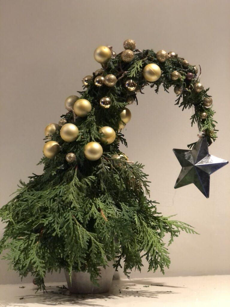 Whimsical Grinch Christmas Tree.Holiday handmade tradition.Vintage paper Christmas treer. Book pages paper tree craft. Christmas tree craft Book pages