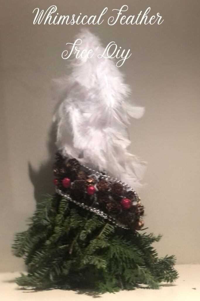 Let's make whimsical feather tree perfect for holiday decor. Holiday Chrismtas white feathers tree. Pine cone tree. Perfect little accent for your White Chrismtas mantel decor