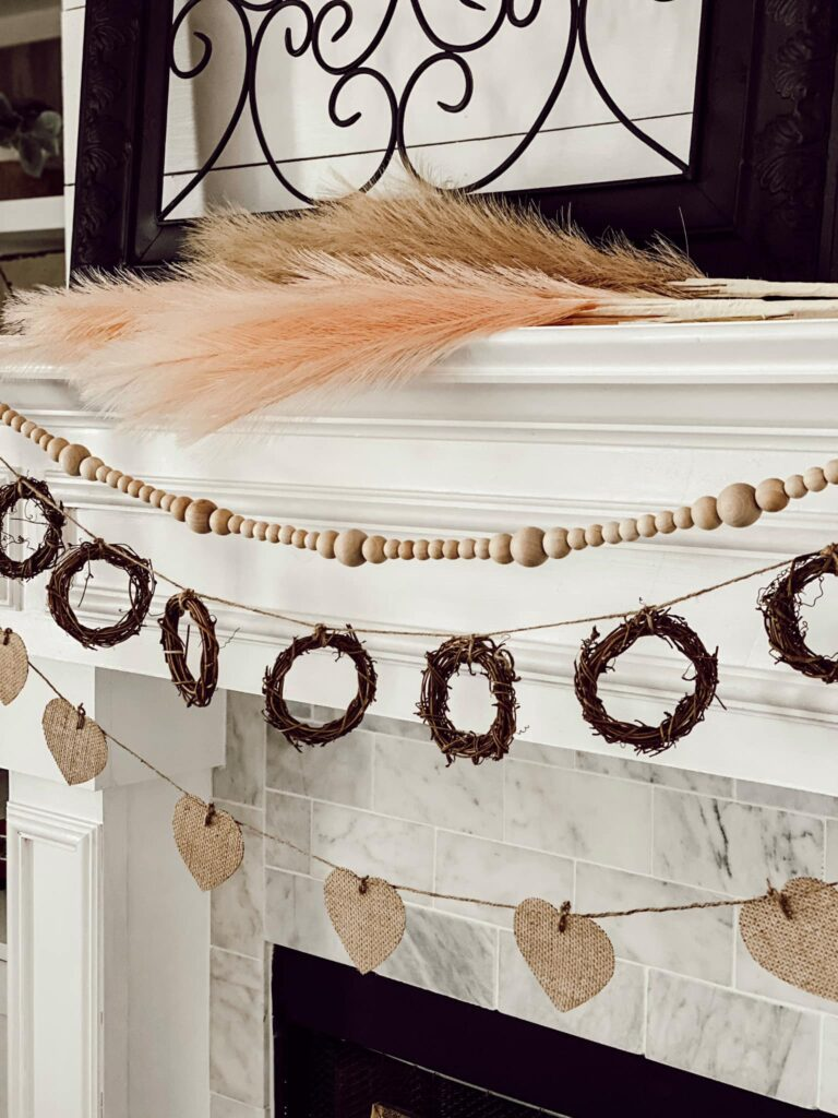Boho Valentines Day Mantel decor