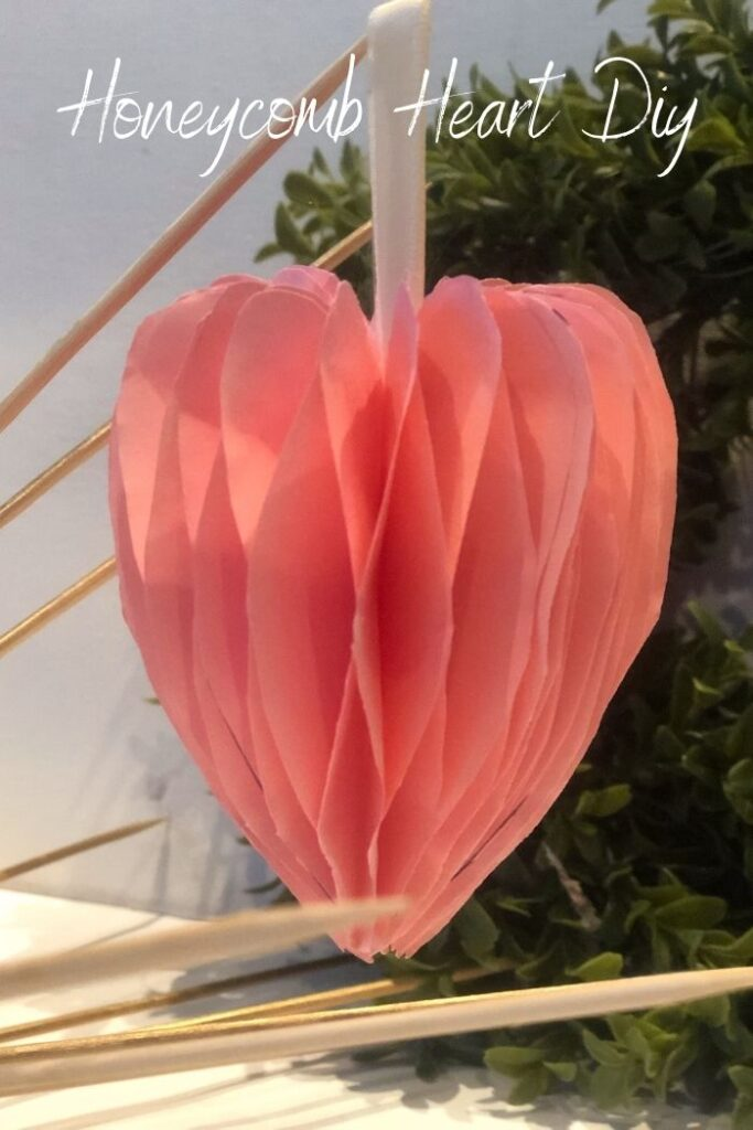 Easy Paper honeycomb heart DIY. Paper heart ornament . Heart shaped gift embellishment. Honeycomb heart