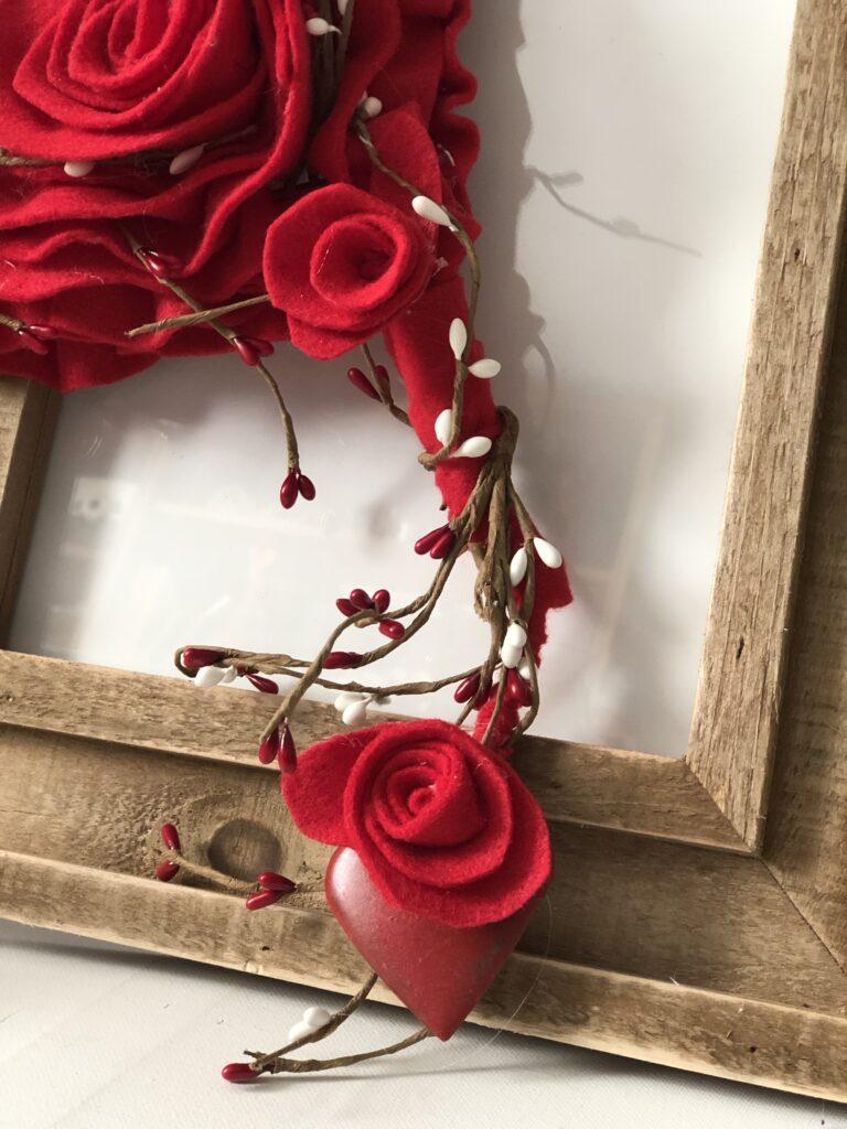 Stunning felt Valentine Day decor. Learn how to make easy rose. Felt heart rose diy. Dollar Tree upscale makeover diy