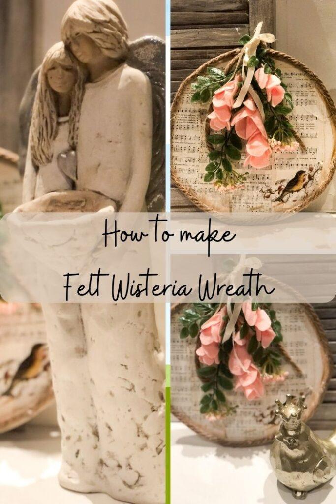 Learn how to make felt wisteria flower. Felt flower diy. Wreath floral embellishments diy. Easy flower to decorate