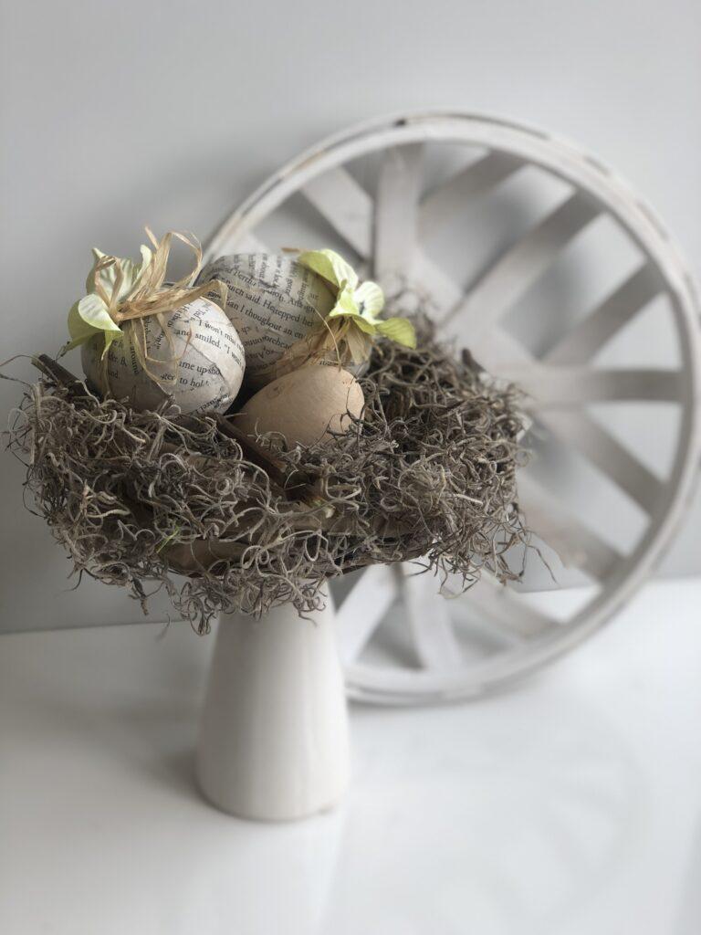 Easter spanish moss nest.Dollar Tree egg decorating diy . Shabby Chic Easter decor. Budget friendly Easter idea.