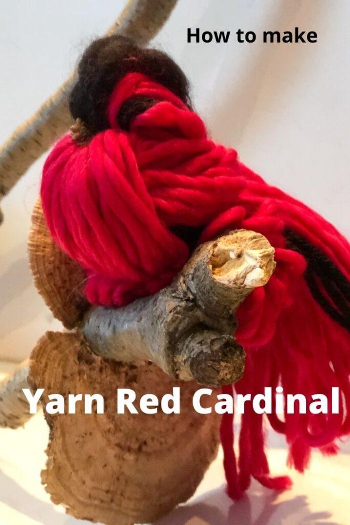 Learn how to make yarn Red Cardinal bird. Easy yarn bird diy. Christmas bird ornament diy. Red cardinal diy