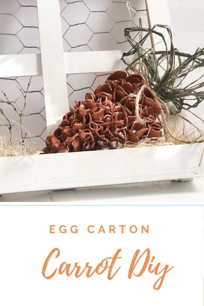 Coolest 3d carrot ever made out of egg cartons. Spring Easter tiered tray MUST accessory. Budget friendly Spring Easter decor diy