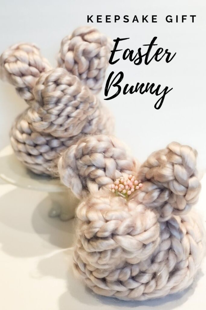 Perfect idea for your Easter Basket that can turn into precious keepsake. Easy to make chunky yarn bunny. Hand knitted bunny. Perfect gift idea. Huggable keepsake gift idea